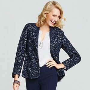 Cabi | Dark Blue Brocade Jacquard Textured Blazer